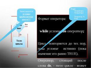 Формат оператора: while условие do оператор; Цикл повторяется до тех пор, пок