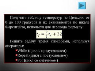 Решение задач Получить таблицу температур по Цельсию от 0 до 100 градусов и и