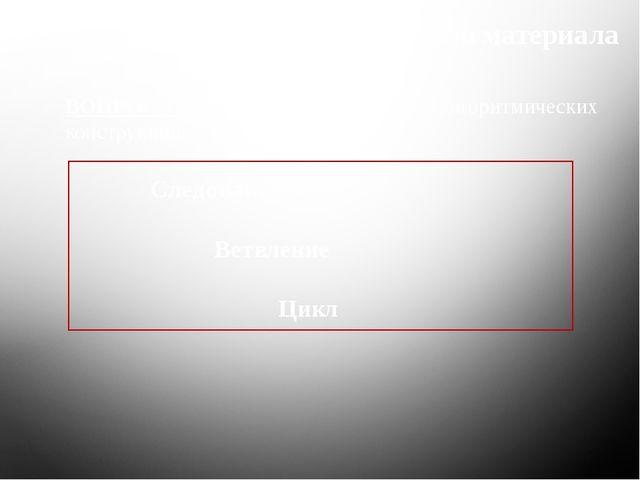 Повторение ранее изученного материала ВОПРОС 1: Назовите три базовых типа алг...