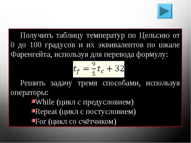 Решение задач Получить таблицу температур по Цельсию от 0 до 100 градусов и и...