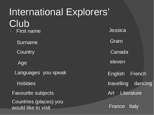 International Explorers' Club First name Jessica Surname Gram Country Canada...