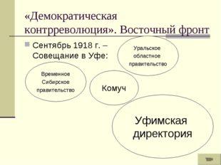 «Демократическая контрреволюция». Восточный фронт Сентябрь 1918 г. – Совещани