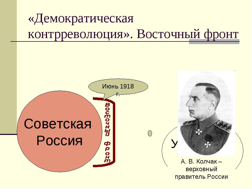 «Демократическая контрреволюция». Восточный фронт Советская Россия Июнь 1918...