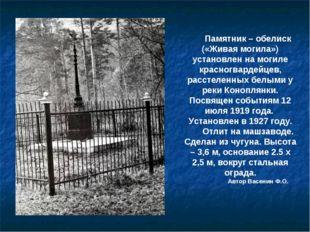 Памятник – обелиск («Живая могила») установлен на могиле красногвардейцев, ра