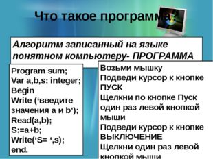 Что такое программа? Алгоритм записанный на языке понятном компьютеру- ПРОГРА