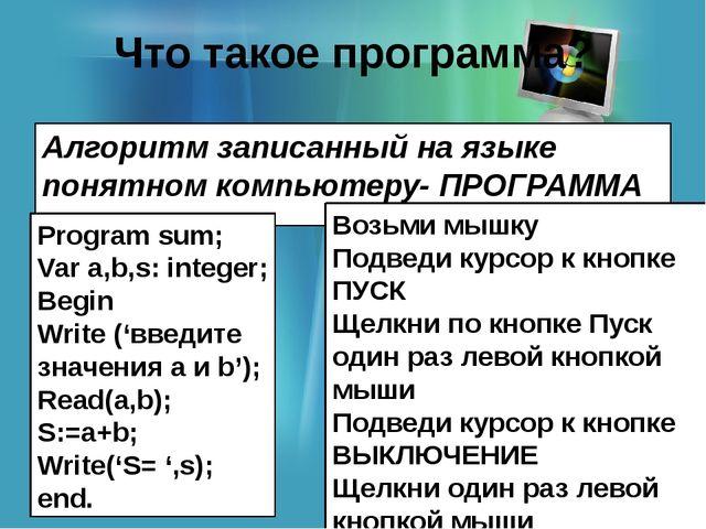 Что такое программа? Алгоритм записанный на языке понятном компьютеру- ПРОГРА...