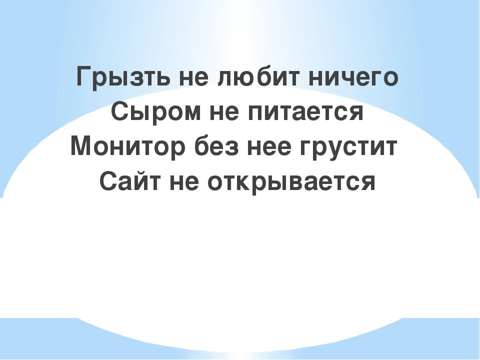 Грызть не любит ничего Сыром не питается Монитор без нее грустит Сайт не откр...