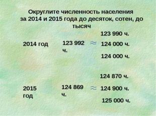 Округлите численность населения за 2014 и 2015 года до десяток, сотен, до тыс