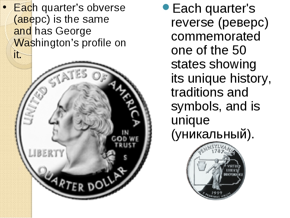 Each quarter's reverse (реверс) commemorated one of the 50 states showing its...