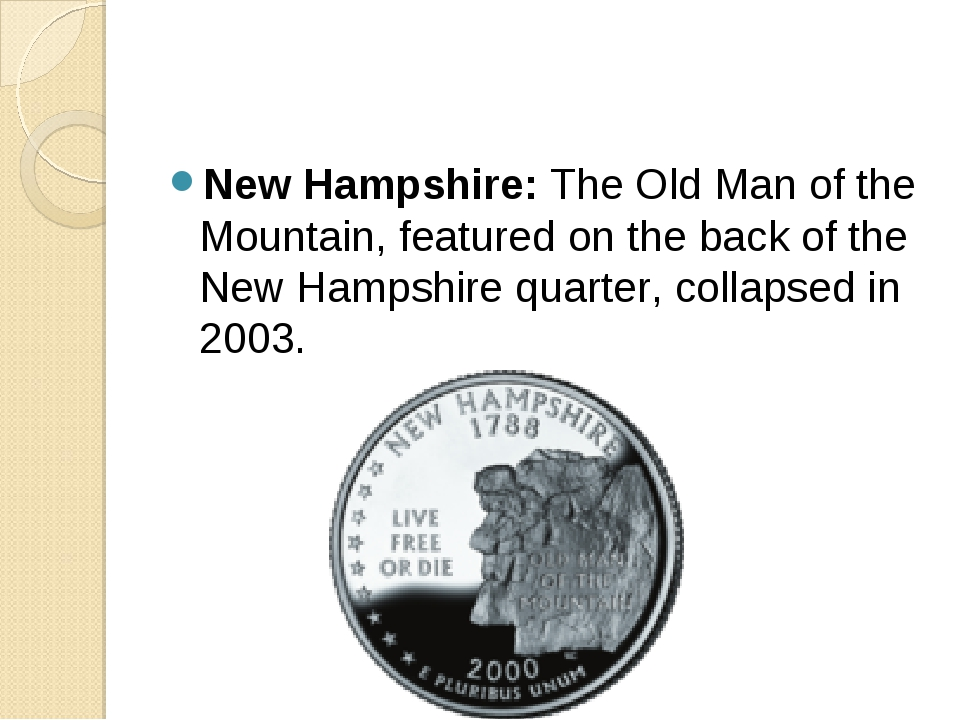 New Hampshire: The Old Man of the Mountain, featured on the back of the New H...