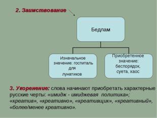 2. Заимствование 3. Укоренение: слова начинают приобретать характерные русски