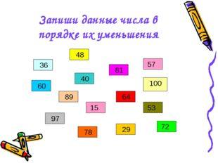 Запиши данные числа в порядке их уменьшения 36 48 15 60 29 97 89 78 53 81 64