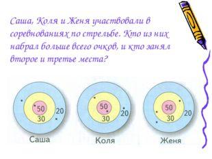 Саша, Коля и Женя участвовали в соревнованиях по стрельбе. Кто из них набрал