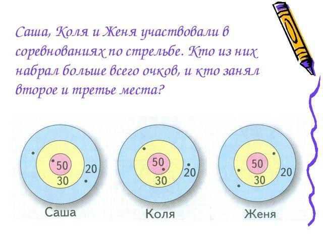 Саша, Коля и Женя участвовали в соревнованиях по стрельбе. Кто из них набрал...