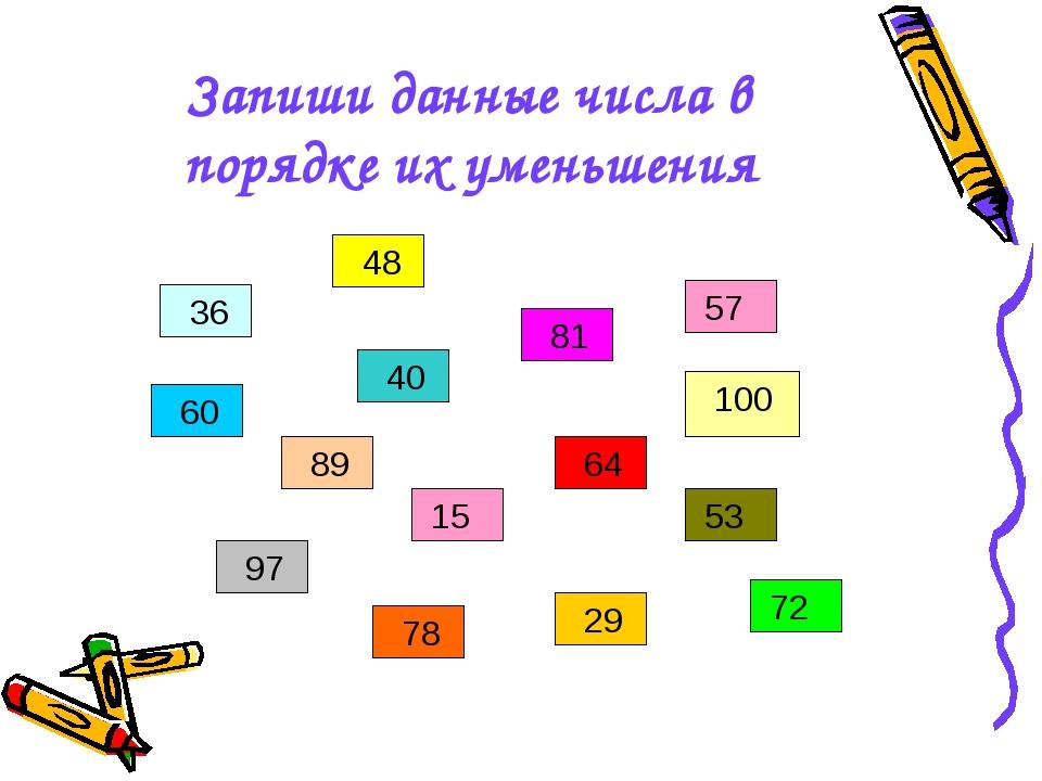 Запиши данные числа в порядке их уменьшения 36 48 15 60 29 97 89 78 53 81 64...