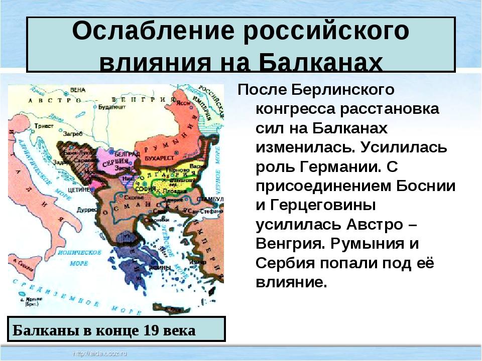Ослабление российского влияния на Балканах После Берлинского конгресса расста...
