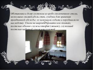 Обстановка в доме состояла из грубо сколоченного стола, нескольких скамей вдо