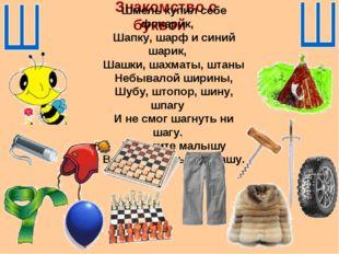 Знакомство с буквой Шмель купил себе фонарик, Шапку, шарф и синий шарик, Шашк