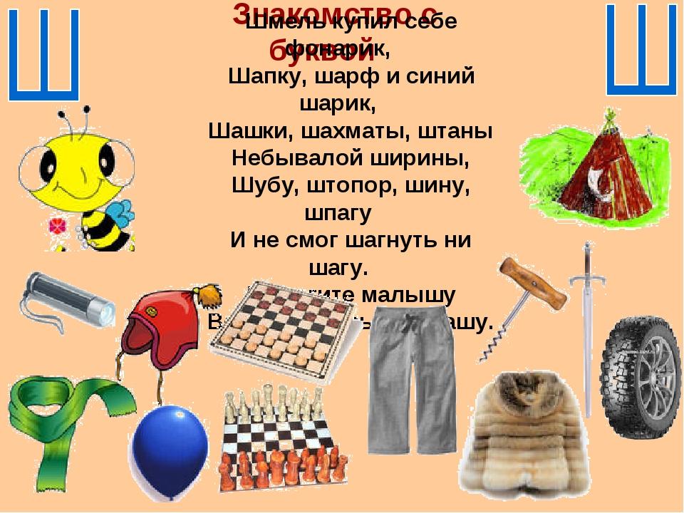 Знакомство с буквой Шмель купил себе фонарик, Шапку, шарф и синий шарик, Шашк...