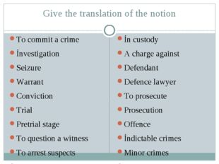 Give the translation of the notion To commit a crime İnvestigation Seizure Wa