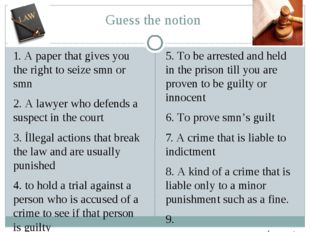 Guess the notion 1. A paper that gives you the right to seize smn or smn 2. A