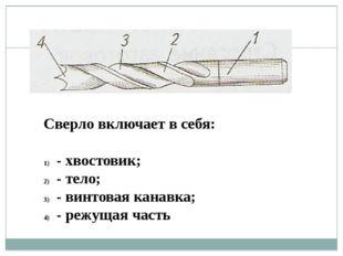 Сверло включает в себя: - хвостовик; - тело; - винтовая канавка; - режущая ча