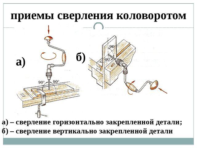 приемы сверления коловоротом а) б) а) – сверление горизонтально закрепленной...