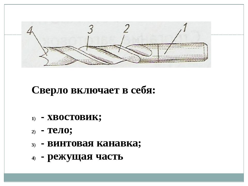 Сверло включает в себя: - хвостовик; - тело; - винтовая канавка; - режущая ча...