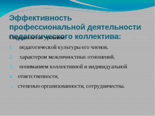 Эффективность профессиональной деятельности педагогического коллектива: Опред