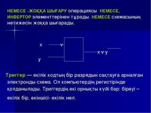 НЕМЕСЕ -ЖОҚҚА ШЫҒАРУ операциясы НЕМЕСЕ, ИНВЕРТОР элементтерінен тұрады. НЕМЕ
