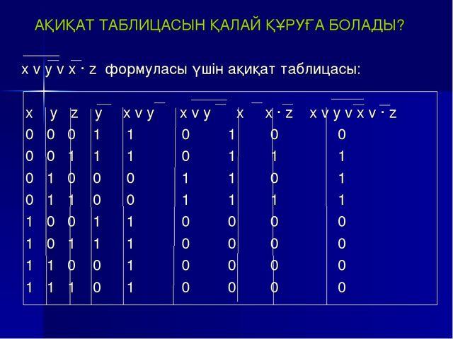 АҚИҚАТ ТАБЛИЦАСЫН ҚАЛАЙ ҚҰРУҒА БОЛАДЫ? x v y v x · z формуласы үшін ақиқат та...