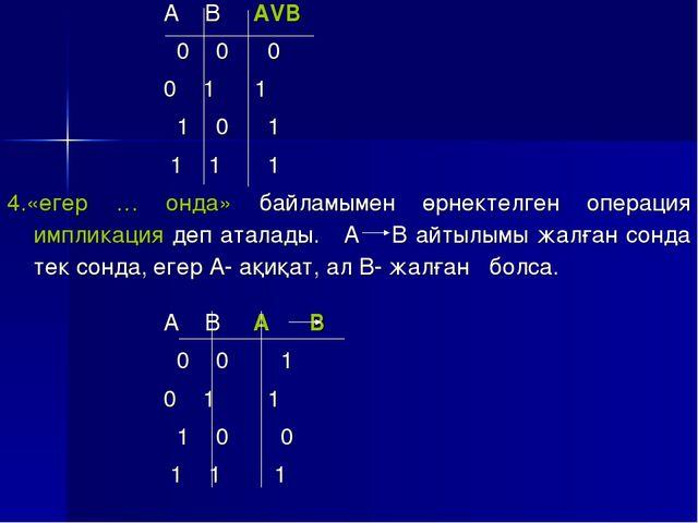 А В АVB 0 0 0 0 1 1 1 0 1 1 1 1 4.«егер … онда» байламымен өрнектелген опера...