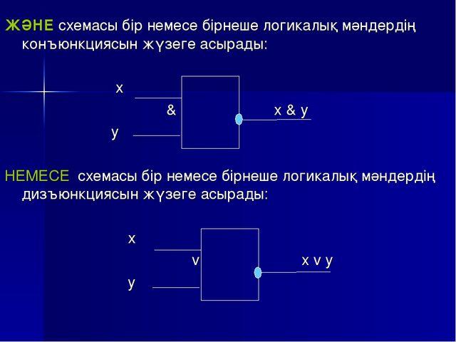 ЖӘНЕ схемасы бір немесе бірнеше логикалық мәндердің конъюнкциясын жүзеге асыр...