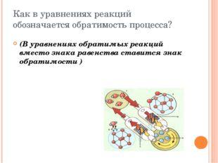 Как в уравнениях реакций обозначается обратимость процесса? (В уравнениях обр