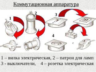 1 2 3 4 Коммутационная аппаратура 1 – вилка электрическая, 2 – патрон для ла