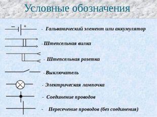 Условные обозначения _ + - Гальванический элемент или аккумулятор - Штепсельн
