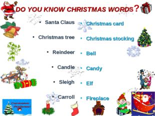 DO YOU KNOW CHRISTMAS WORDS? Santa Claus Christmas tree Reindeer Candle Sleig