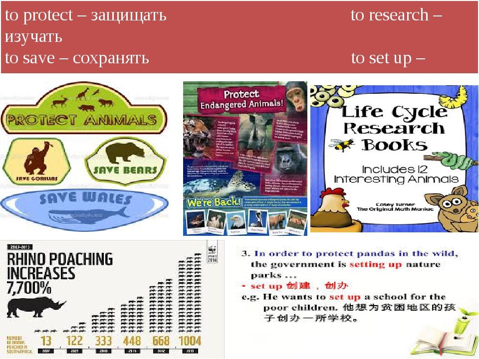 to protect – защищать to research – изучать to save – сохранять to set up – с...