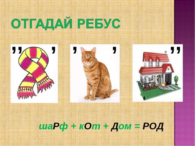 ,, , ,, , , шаРф + кОт + Дом = РОД