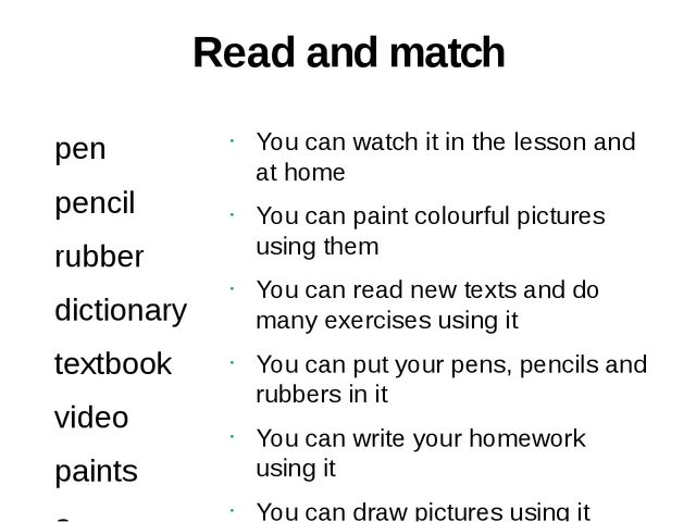 Read and match pen pencil rubber dictionary textbook video paints a cassette...
