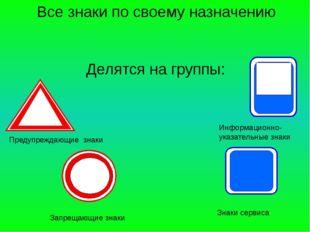 Все знаки по своему назначению Делятся на группы: Предупреждающие знаки Запре