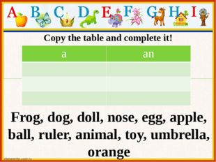 Copy the table and complete it! Mum's tea set Frog, dog, doll, nose, egg, app