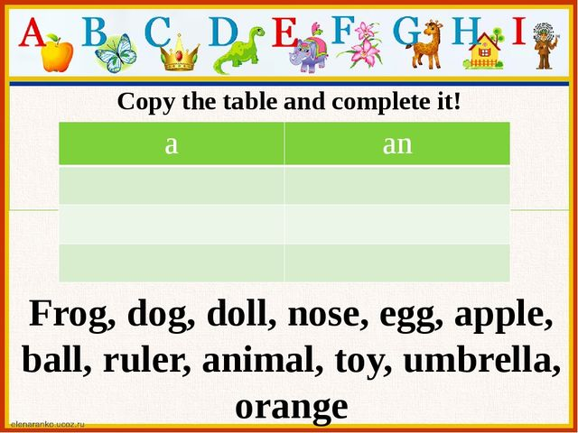 Copy the table and complete it! Mum's tea set Frog, dog, doll, nose, egg, app...