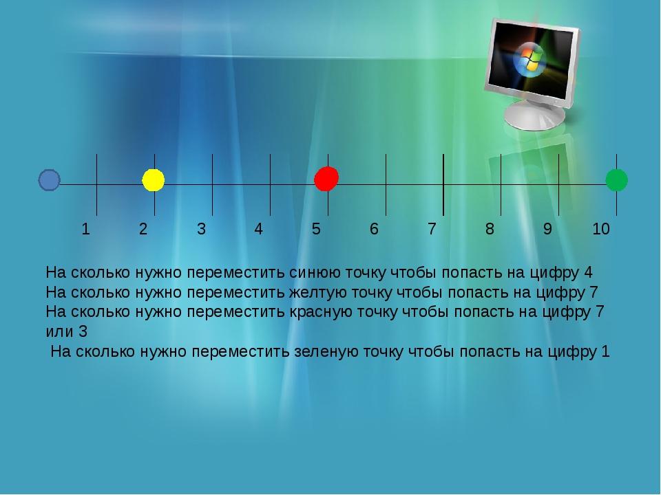 На сколько нужно переместить синюю точку чтобы попасть на цифру 4 На сколько...