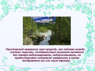 Паустовский прекрасно знал природу, его пейзажи всегда глубоко лиричны. Особе