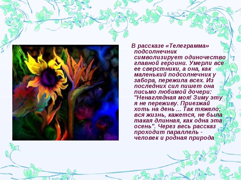 В рассказе «Телеграмма» подсолнечник символизирует одиночество главной герои...
