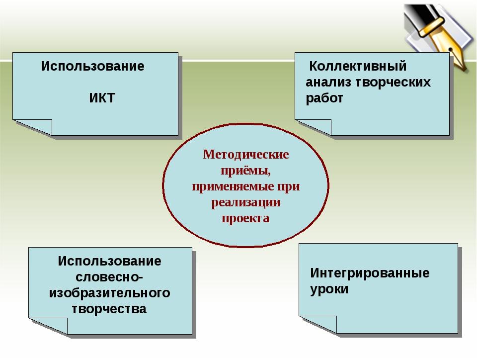Методические приёмы, применяемые при реализации проекта Использование ИКТ Инт...