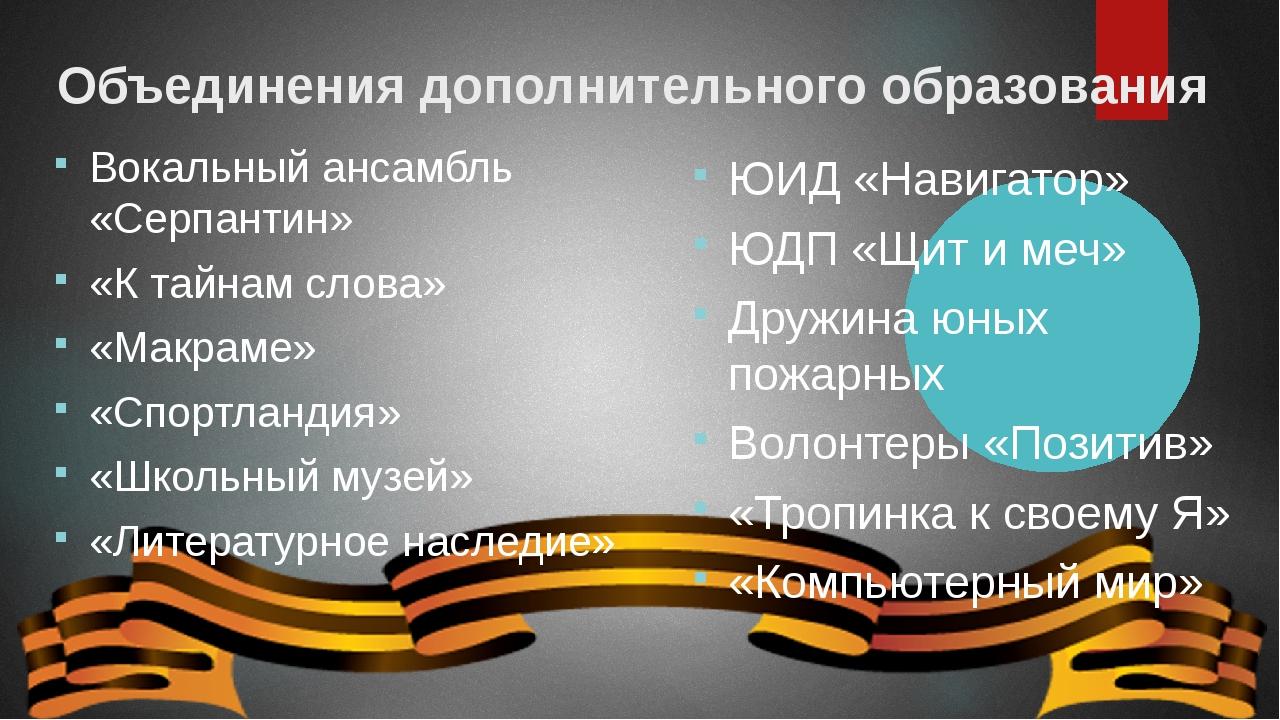 Объединения дополнительного образования Вокальный ансамбль «Серпантин» «К тай...