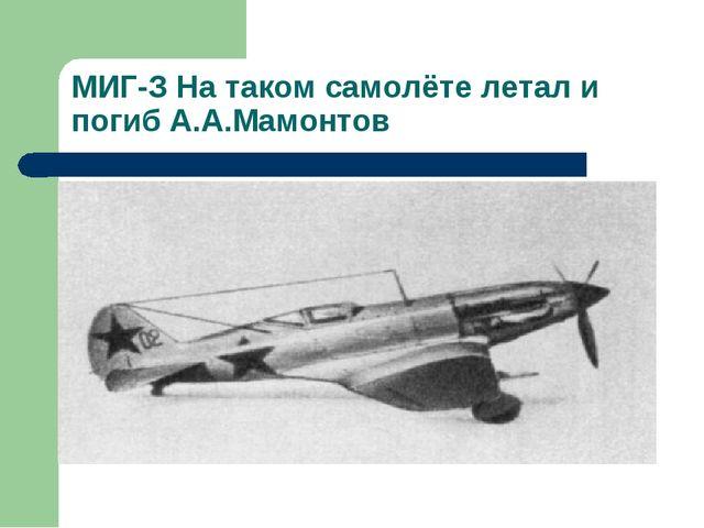 МИГ-З На таком самолёте летал и погиб А.А.Мамонтов