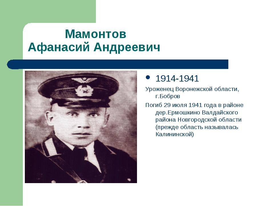 Мамонтов Афанасий Андреевич 1914-1941 Уроженец Воронежской области, г.Бобров...